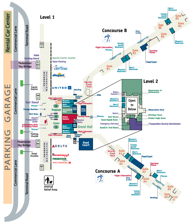Gerald R. Ford International Airport (GRR) Terminal Map