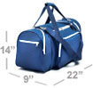 a bag no larger than 14 inches in height, 22 inches in length and 9 inches in depth