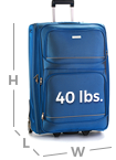 a bag for which the sum of length, height and depth measurements is no more than 80 inches in total