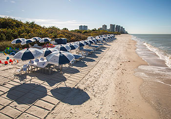 Beach with Chairs & Umbrellas
