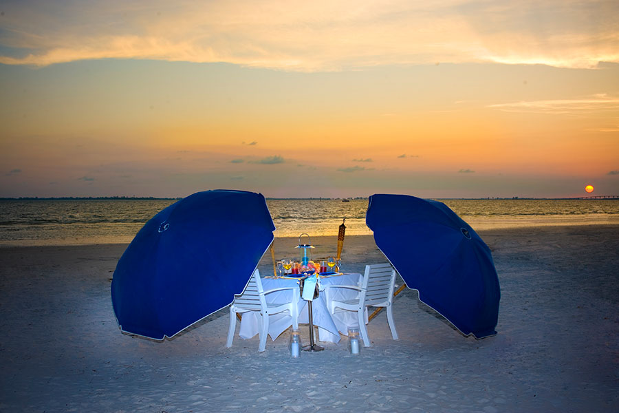On Beach Dining with Sunset View