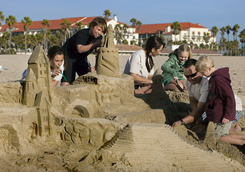 People Building Sand Castles