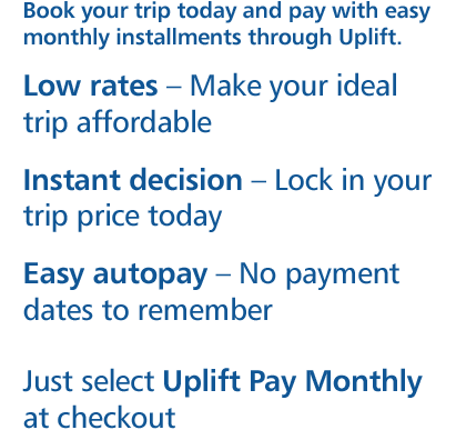 Book now. Pay Monthly. Low Rates. Instant Decision.